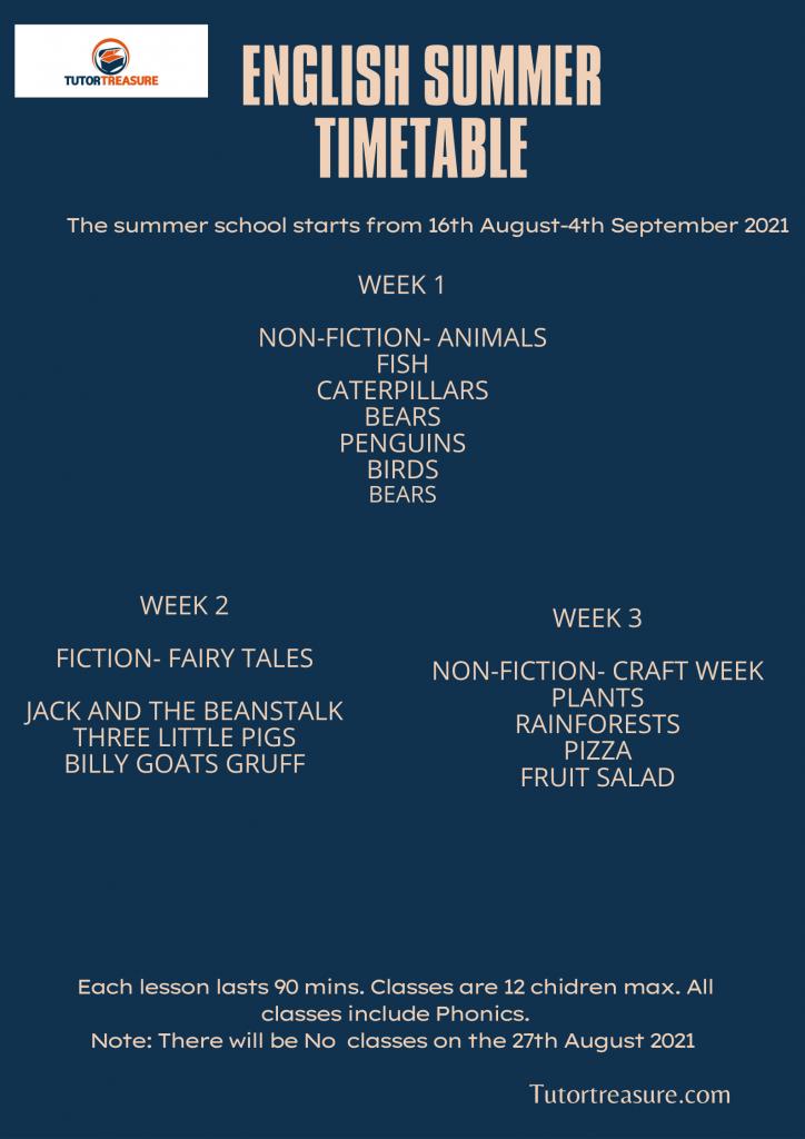 English summer programme