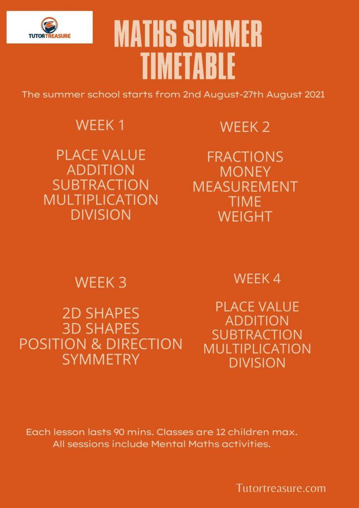 Maths Summer Timetable